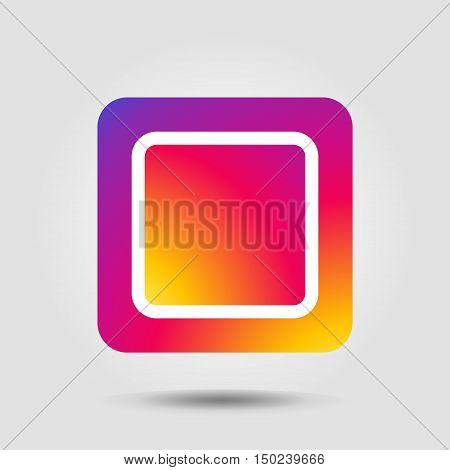 Icon. Icon with shadow isolated. Icon in Instagram color. Rainbow frame, Sunset icon, Colorful label, Tag, Gift, Button, Gradient banner. Background for web design. Vector illustration.