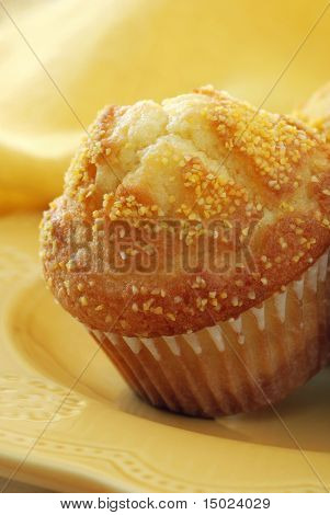 Macro of corn muffin on yellow plate with matching napkin as background. Shallow dof