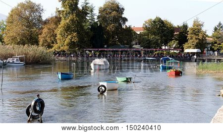STRUGA MACEDONIA OCTOBER 02 2016: Place where the water outflow from the Lake Ohrid and form the river Black Drim