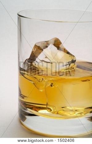 Glass Of Scotch And Ice Closeup