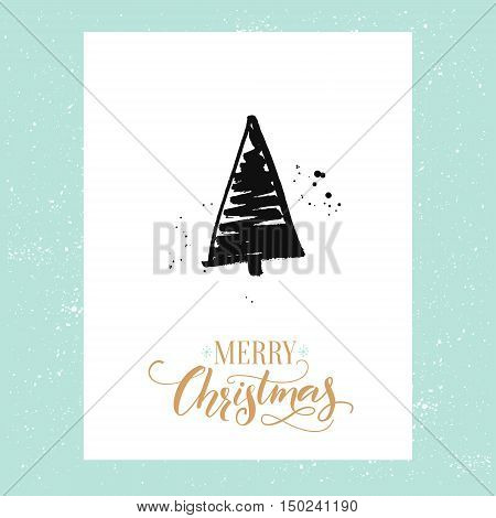 Merry Christmas simple greeting card with hand drawn Christmas tree. Vector design template with calligraphy type