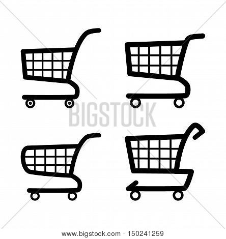 Shopping cart icon set - vector illustration