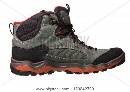 Hiking boots isolated on white background. Good image for making a collage