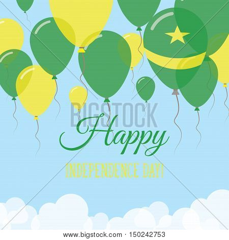 Mauritania Independence Day Flat Greeting Card. Flying Rubber Balloons In Colors Of The Mauritanian
