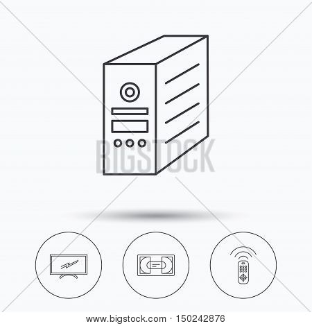 TV remote, VHS cassette and PC case icons. Widescreen TV linear sign. Linear icons in circle buttons. Flat web symbols. Vector