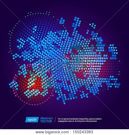 Virtual technology circle with space. Abstract color technology circles. Abstract background. Vector
