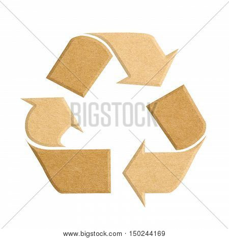 Recycle logo from recycled cardboard isolated on white background