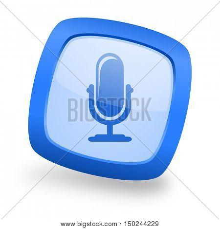 microphone blue glossy web design icon