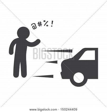 car incident black simple icon on white background for web design