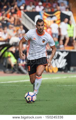 VALENCIA, SPAIN - OCTUBER 2nd: Montoya during Spanish soccer league match between Valencia CF and Atletico de Madrid at Mestalla Stadium on Octuber 2, 2016 in Valencia, Spain