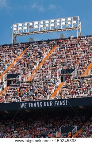 VALENCIA, SPAIN - OCTUBER 2nd: Valencia Supporters during Spanish soccer league match between Valencia CF and Atletico de Madrid at Mestalla Stadium on Octuber 2, 2016 in Valencia, Spain