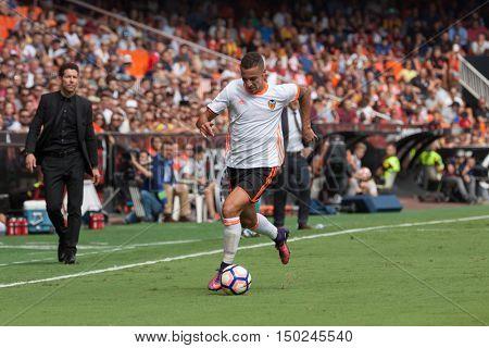 VALENCIA, SPAIN - OCTUBER 2nd: Rodrigo during Spanish soccer league match between Valencia CF and Atletico de Madrid at Mestalla Stadium on Octuber 2, 2016 in Valencia, Spain