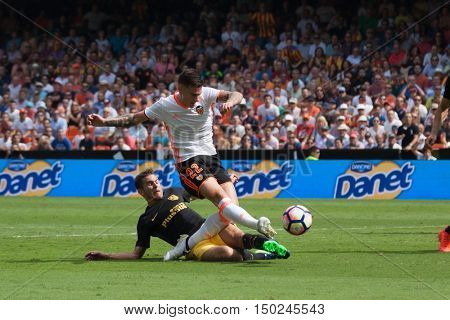 VALENCIA, SPAIN - OCTUBER 2nd: 22 Santi Mina and Lucas during Spanish soccer league match between Valencia CF and Atletico de Madrid at Mestalla Stadium on Octuber 2, 2016 in Valencia, Spain