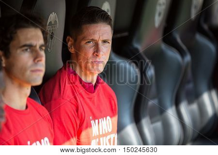 VALENCIA, SPAIN - OCTUBER 2nd: Fernando Torres during Spanish soccer league match between Valencia CF and Atletico de Madrid at Mestalla Stadium on Octuber 2, 2016 in Valencia, Spain