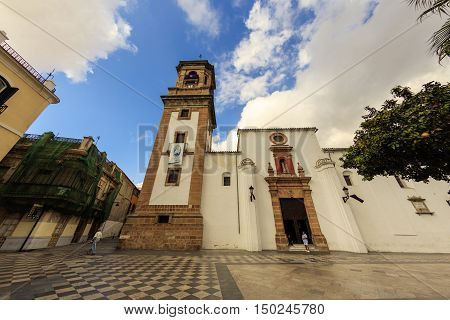 ALGECIRAS, SPAIN - SEPTEMBER 27: 18th Century Church of Our Lady of the Palm is an important city landmark in Algeciras on September 27, 2016.