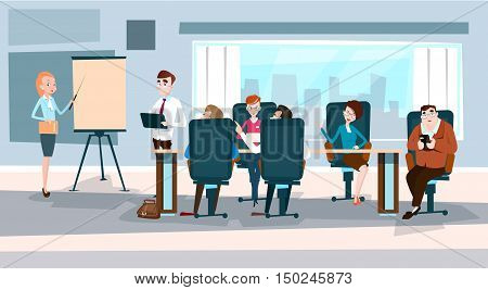 Business People Team With Flip Chart Seminar Training Conference Brainstorming Presentation Financial Graph Flat Vector Illustration