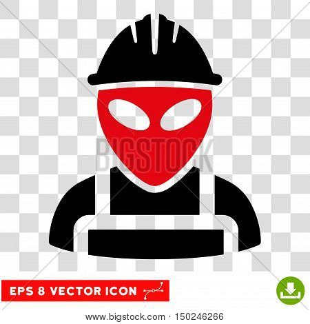 Vector Alien Worker EPS vector pictogram. Illustration style is flat iconic bicolor intensive red and black symbol on a transparent background.