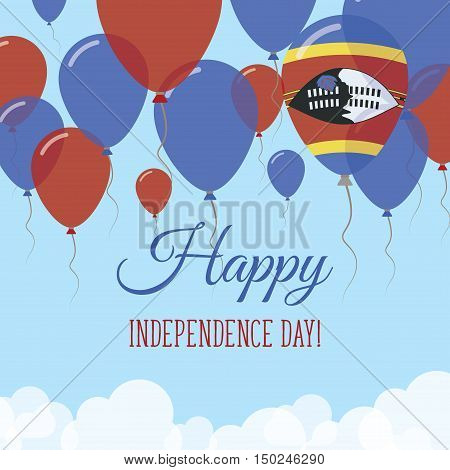 Swaziland Independence Day Flat Greeting Card. Flying Rubber Balloons In Colors Of The Swazi Flag. H