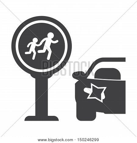 Crosswalk black simple icon on white background for web design