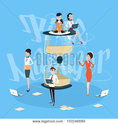 Business People Team Working Process, Sand Watch Time Management Concept Flat Vector Illustration