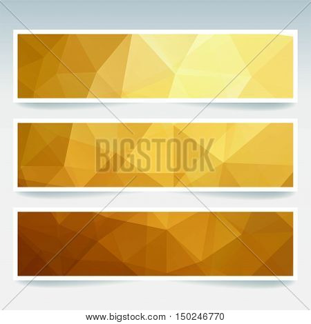 Vector Banners Set With Polygonal Abstract Golden Triangles. Abstract Polygonal Low Poly Banners.