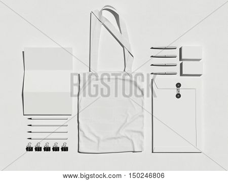 Business Mock Up With White Cotton Bag. 3D Rendering