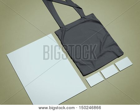 Business Mock Up With Bag. 3D Rendering