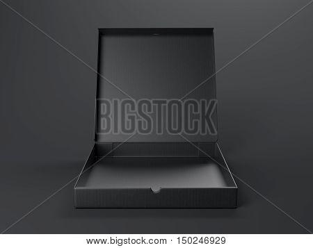 Black Opened Cardboard Package. 3D Rendering