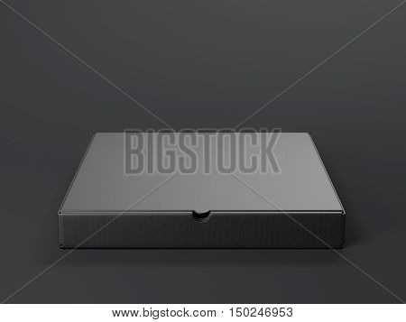 Black Opened Cardboard Package. 3D Rendering