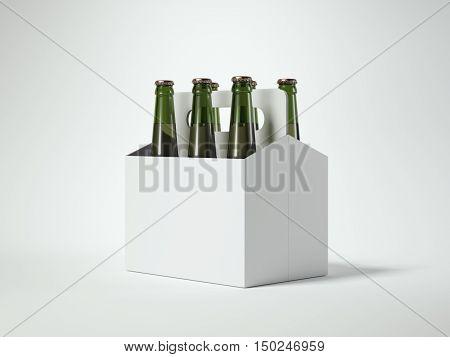 White Blank Beer Packaging With Green Bottles. 3D Rendering
