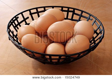 Fresh, golden brown eggs in metal basket on wood grain background. Concept - all eggs in one basket