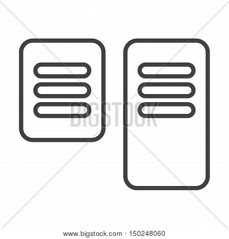 Foot pedal control brake, gas, entry black simple icon on white background for web design
