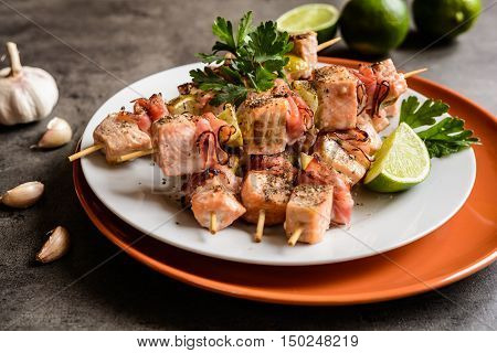 Roasted Salmon Skewers With Bacon And Lime