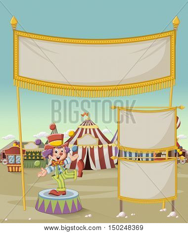 Cartoon clown juggling in front of cartoon circus. Vintage carnival background.