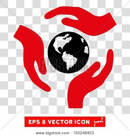 Vector Global Care Hands EPS vector pictogram. Illustration style is flat iconic bicolor intensive red and black symbol on a transparent background.