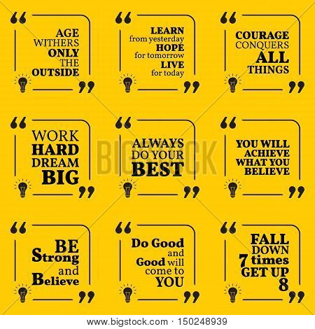 Set Of Motivational Quotes About Courage, Achievement, Success And Strong Spirit. Simple Note Design