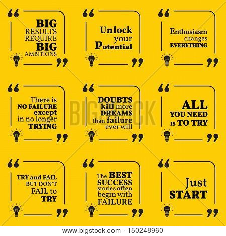 Set Of Motivational Quotes About Potential, Optimism, Doubts, Enthusiasm, Action, Success And Dreams