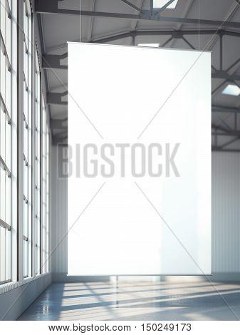 Blank white banner in bright hangar. 3d rendering