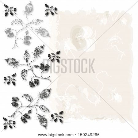 Branches with gooseberries.Plants with leaves and gooseberry. Herbal background. Raster illustration.