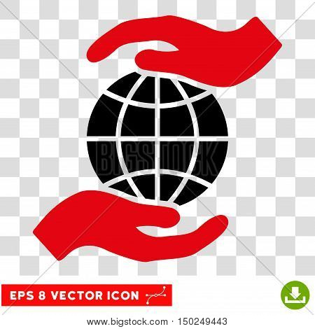 Vector Global Insurance Hands EPS vector pictogram. Illustration style is flat iconic bicolor intensive red and black symbol on a transparent background.