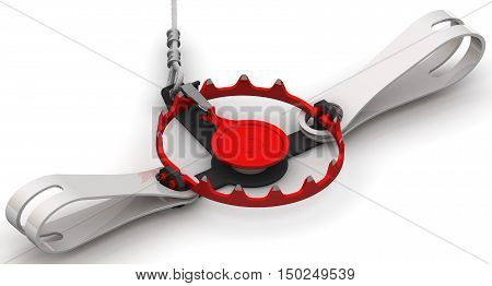 Hunting trap lies on a white surface. Isolated. 3D Illustration