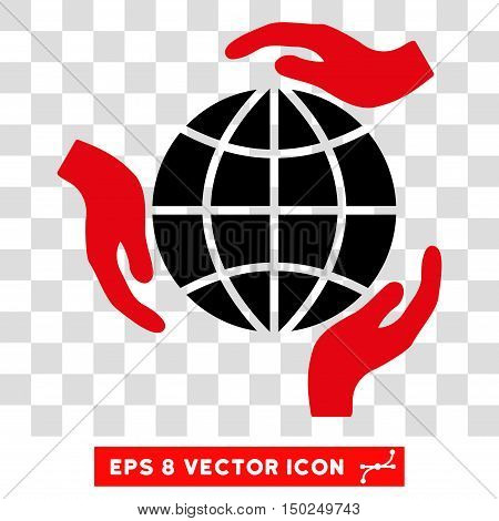 Vector Global Protection Hands EPS vector pictogram. Illustration style is flat iconic bicolor intensive red and black symbol on a transparent background.