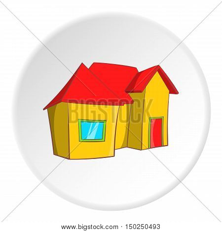 One storey residential house icon in cartoon style isolated on white circle background. Building symbol vector illustration