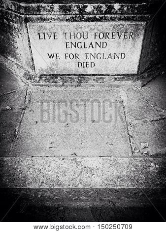 world war 1 and 2 remembrance memorial epitaph in England
