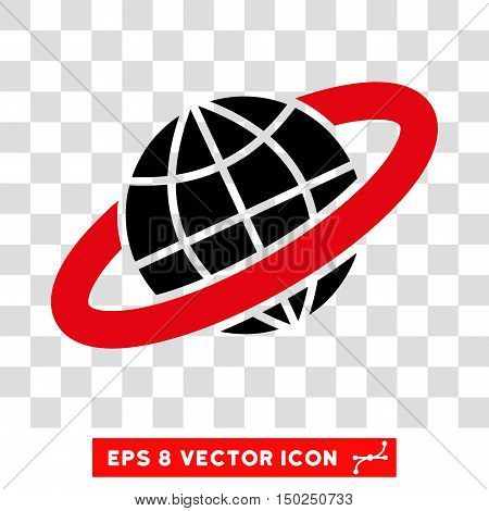Vector Planetary Ring EPS vector pictogram. Illustration style is flat iconic bicolor intensive red and black symbol on a transparent background.