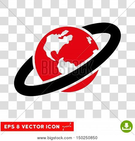 Vector Ringed Planet EPS vector pictogram. Illustration style is flat iconic bicolor intensive red and black symbol on a transparent background.