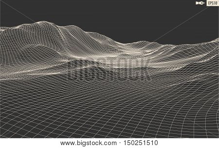 3D Wireframe Terrain Wide Angle digital illustratio