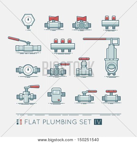 Quality flat  icons set of sanitary equipment