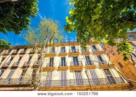 Beautiful residential building facade in Aix-en-Provence in France. Typical french architecture in Provence