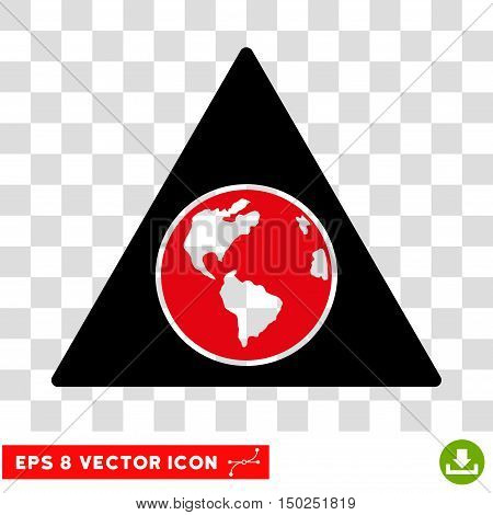 Vector Terra Triangle EPS vector pictograph. Illustration style is flat iconic bicolor intensive red and black symbol on a transparent background.